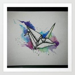 Flying Paper Crane Art Print