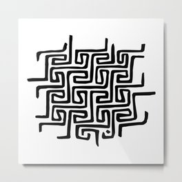 There's always a way out - Black Minimal Maze Metal Print