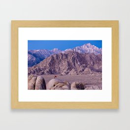 Photographer setting up a shot at Lone Pine, CA. (movie Flats) Framed Art Print