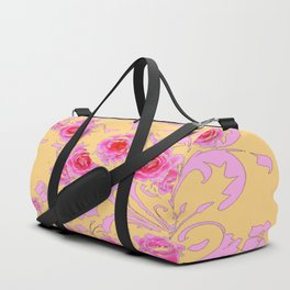 PINK-RED ROSE ABSTRACT FLORAL GARDEN ART Duffle Bag