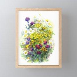 Watercolor meadow flowers Framed Mini Art Print