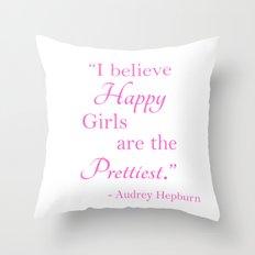 Happy Girls - Hot Pink Throw Pillow