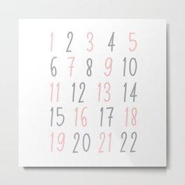 Numbers - Pink Metal Print