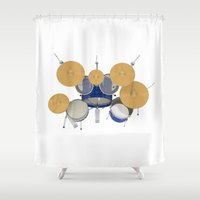 drum Shower Curtains featuring Blue Drum Kit by PhantomLiving