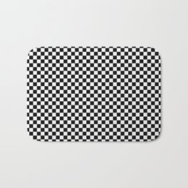 Black White Checks Minimalist Bath Mat