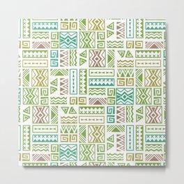 Polynesia Geometric Tapa Cloth - Earth Colors Metal Print