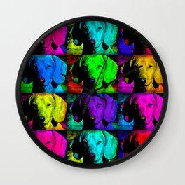 Colorful Pop Art Dachshund Doxie Face Closeup Tiled Image Wall Clock