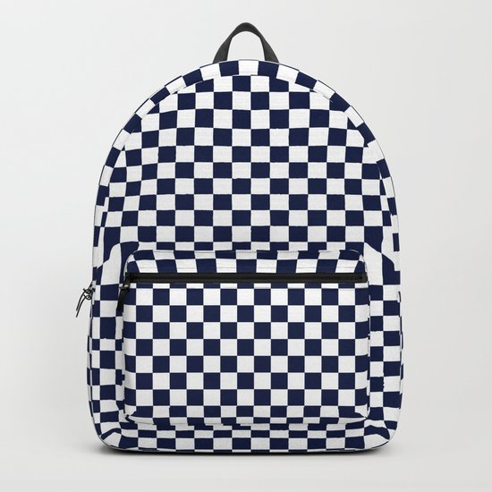Indigo Navy Blue Checks Backpack