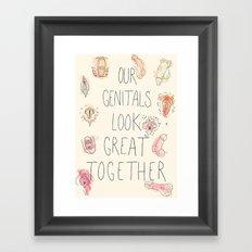 Happy Genitals Framed Art Print