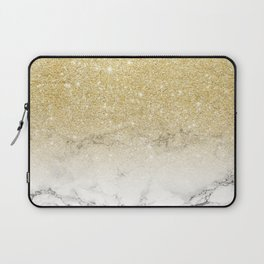 Modern faux gold glitter white marble color block Laptop Sleeve