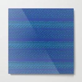 Big Stich Blue - Knitting Fabric Art Metal Print