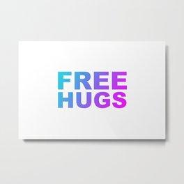 Free Hugs Typography - Minimal - Graphic Design Aqua Purple & Fuschia Gradient Lettering  Metal Print