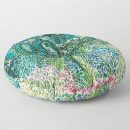 cheerful handmade embroidery in the digital world Floor Pillow
