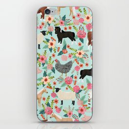 Farm animal sanctuary pig chicken cows horses sheep floral pattern gifts iPhone Skin