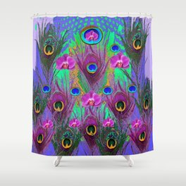 Blue Green Peacock Feathers Lavender Orchid Patterns Art Shower Curtain
