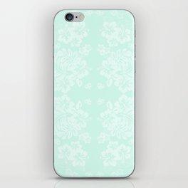Celadon Mint Green Pastels Tropical Hibiscus Flowers Pattern iPhone Skin