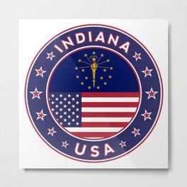 Indiana, Indiana t-shirt, Indiana sticker, circle, Indiana flag, white bg Metal Print