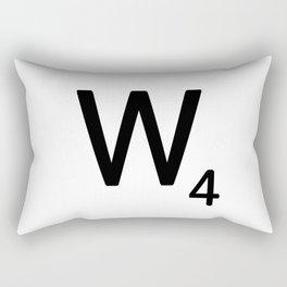 Letter W - Custom Scrabble Letter Tile Art - Scrabble W Initial Rectangular Pillow
