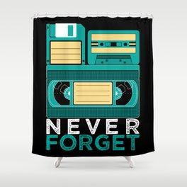 Never Forget   Retro VHS Cassette Tape Floppy Disk Shower Curtain
