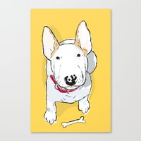 bull terrier Canvas Prints featuring bull terrier by bbay