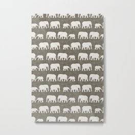 elephant march - taupe Metal Print