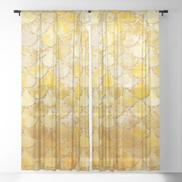 Sunny Gold Colorful Watercolor Trendy Glitter Mermaid Scales Sheer Curtain