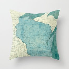Wisconsin State Map Blue Vintage Throw Pillow