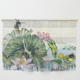 Japanese Water Lilies and Lotus Flowers Wall Hanging