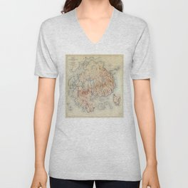 Map of Acadia National Park, Maine (1942) Unisex V-Neck