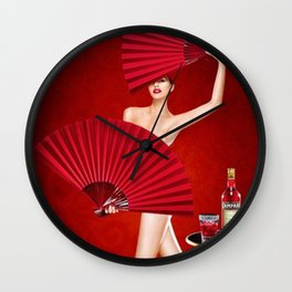 Classic Red Campari Girl with Fans Alcoholic Aperitif Vintage Advertising Poster Wall Clock