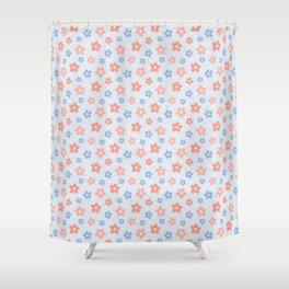 Blue Pink Flower Pattern Shower Curtain
