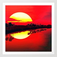 duvet cover Art Prints featuring Sunset duvet cover by customgift