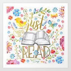 I Just Want To Read - White Floral Art Print