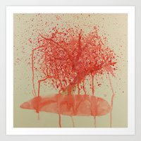 Water Colour and Acrylic Tree Painting Art Print