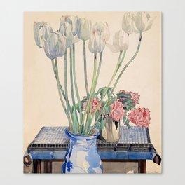 "Charles Rennie Mackintosh ""White tulips"" Canvas Print"