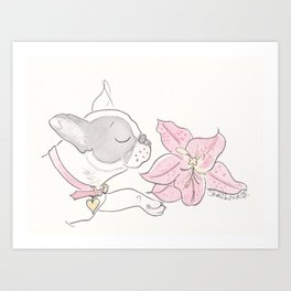 Pretty French Bulldog and the Pink Lily Art Print