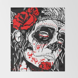 Girl With Sugar Skull, Day of the Dead Throw Blanket