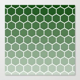 Green gradient honey comb pattern Canvas Print