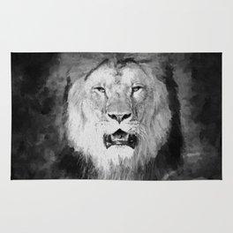 Lion Black and White  Mixed Media Digital Art Rug