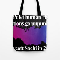bisexual Tote Bags featuring Boycott Sochi - Bisexual Flag Gradient by Boycott Sochi