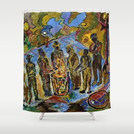African American Masterpiece 'Can Fire in the Park' by Beauford Delaney Shower Curtain