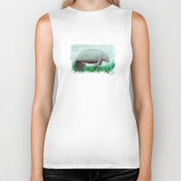 manatee Biker Tanks featuring The Manatee ~ Watercolor by Amber Marine by Amber Marine