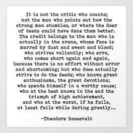 Man In The Arena Theodore Roosevelt Quote Art Print