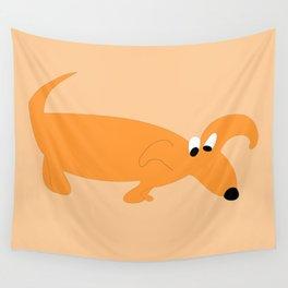 ORANGE SNIFFER DOG Wall Tapestry