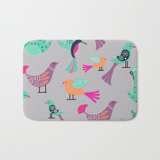 Birds Pattern #society6 #decor #buyart #illustration Bath Mat