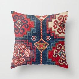 Royal Blue Red Kazak 19th Century Authentic Colorful El Paso Vibes Vintage Patterns Throw Pillow