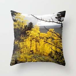 A Mountainside Fire of Gold Throw Pillow