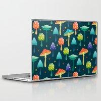 mushrooms Laptop & iPad Skins featuring Mushrooms by Julia Badeeva