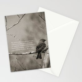 The Quest:  Black and White Bird Antiqued Stationery Cards
