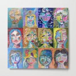 Twelve Intriguing Faces - Modern Art Abstra Metal Print